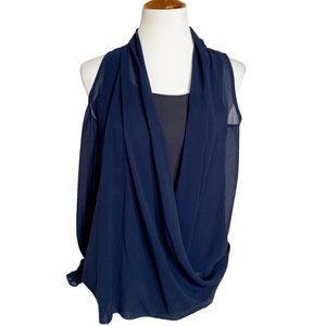 Miss Me Couture Draped Navy Blue Sleeveless Blouse